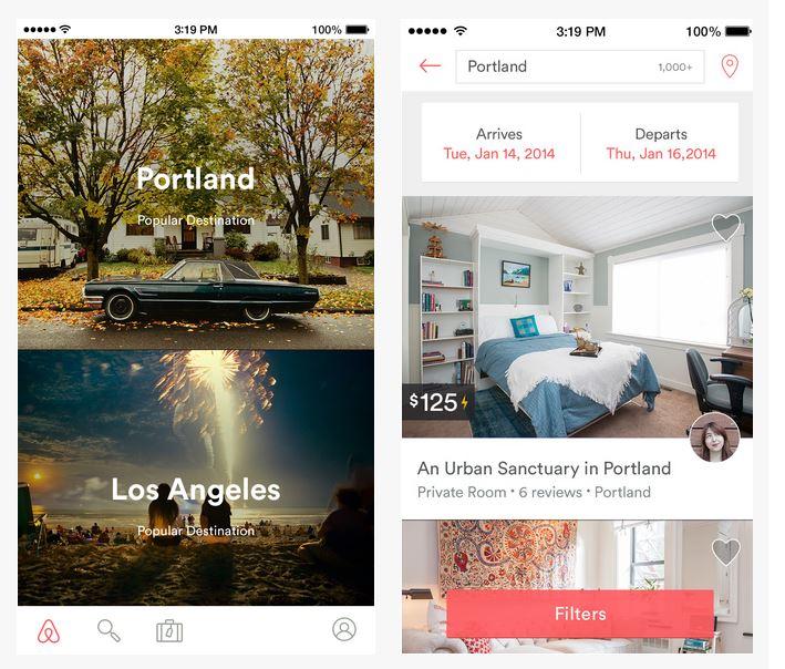 airnbnbアプリのscreen shot